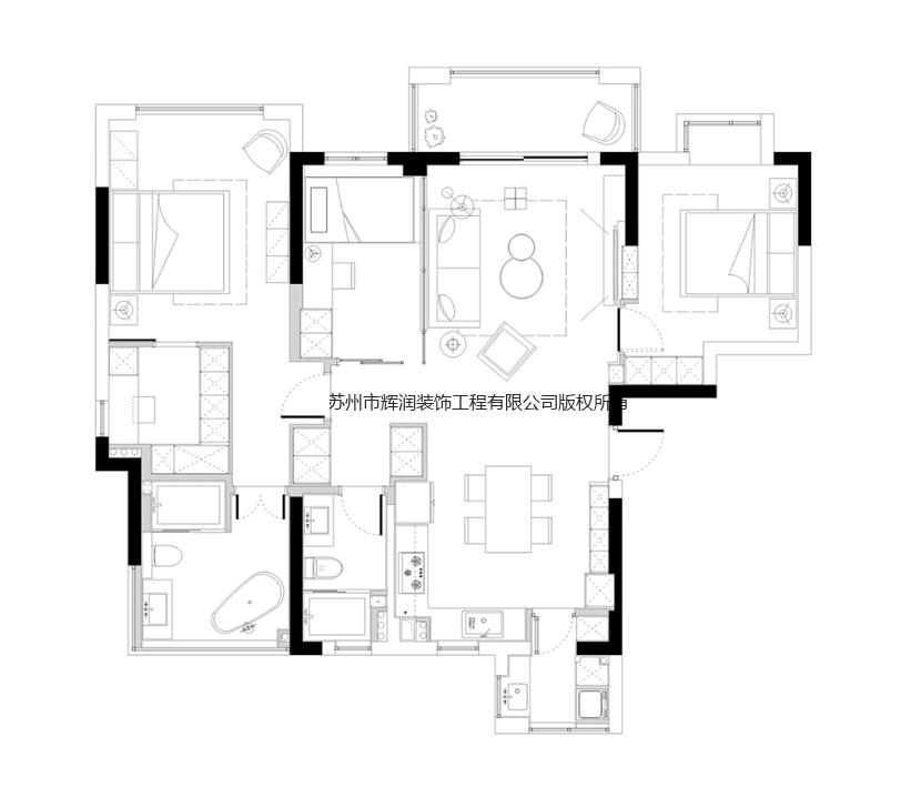 家装空间设计案例之尚湖之湾布置图